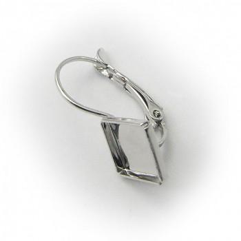 Náušnice klapka CHESSBOARD 10mm Rhodiované kosá