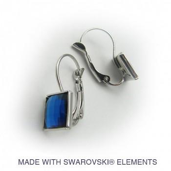 Náušnice klapka CHESSBOARD 10mm Rhodiované rovná