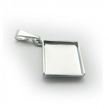 Přívěsek CHESSBOARD 10mm Rhodiovaný kosý