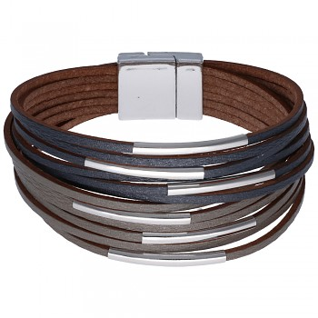 Náramek 1/12 pásků s dutinkami ŠEDO-TMAVĚ ŠEDÝ 18cm