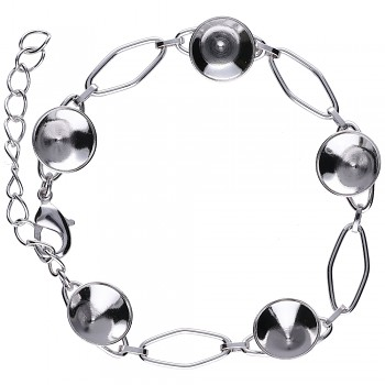 Bracelet CHATON5 x10mm Rhodium Plated
