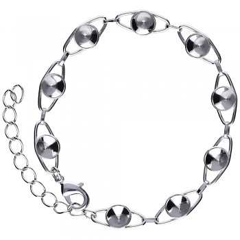 Bracelet CHATON9 x6mm Rhodium Plated