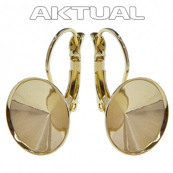 Leverback Earrings DOME 14mm Gold Plated Au24kt