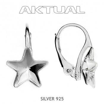 Náušnice KL STAR 10mm, Ag925+Platina, 0.7g