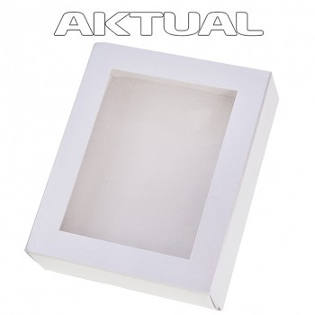 Krabička T1 100x80x25mm zasouvací s okénkem bílá perleťová