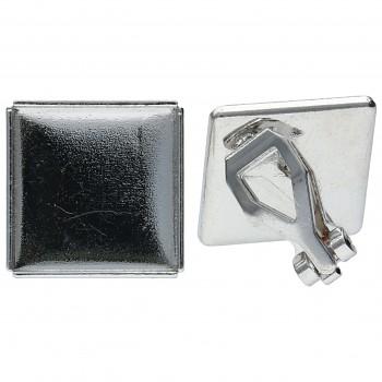Náušnice CLIPS CHESSBOARD 10mm Rhodiované