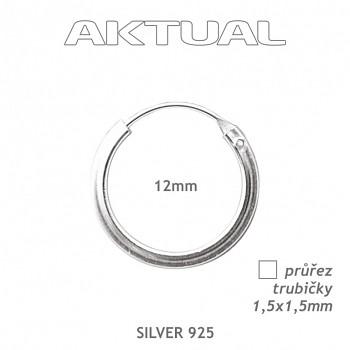 Náušnice Ag925 1,5Qx12mm Kroužek 0,8g - trubička čtvercového průřezu