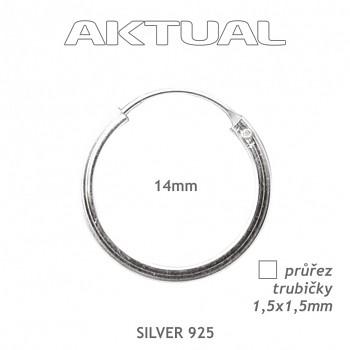 Náušnice Ag925 1,5Qx14mm Kroužek 0,95g - trubička čtvercového průřezu