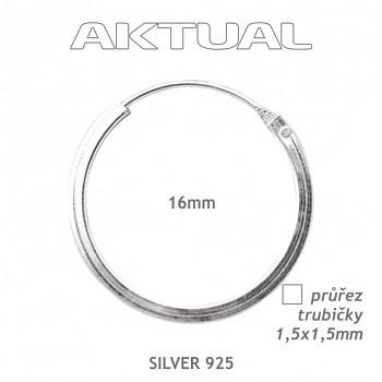Náušnice Ag925 1,5Qx16mm Kroužek 1,1g - trubička čtvercového průřezu