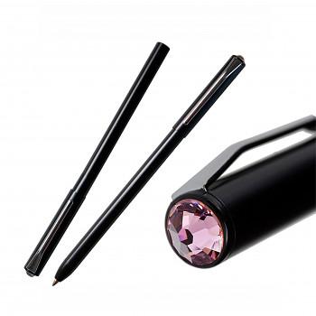 Kuličkové pero PEN s magnetickým uzávěrem BLACK LIGHT ROSE SWAROVSKI ELEMENTS