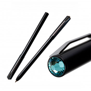 Kuličkové pero PEN s magnetickým uzávěrem BLACK LIGHT TURQUOIS SWAROVSKI ELEMENTS