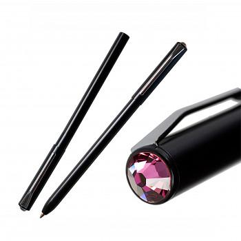 Kuličkové pero PEN s magnetickým uzávěrem BLACK ROSE SWAROVSKI ELEMENTS