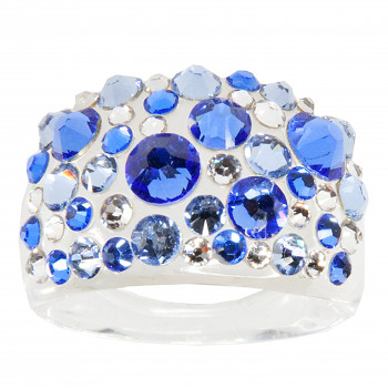 Prsten BUBBLE 53mm SAPPHIRE SWAROVSKI ELEMENTS