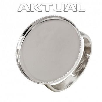 Prsten CABOCHON crystal kruh 18mm Rhodiovaný