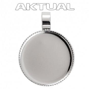 Přívěsek CABOCHON crystal kruh 12mm Rhodiovaný (trubička)