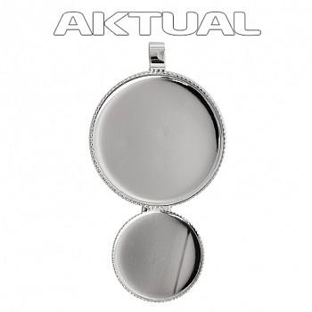Přívěsek CABOCHON crystal kruh 18+12mm Rhodiovaný (trubička)