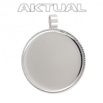 Přívěsek CABOCHON crystal kruh 18mm Rhodiovaný (trubička)