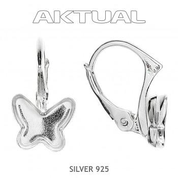 Náušnice klapka BUTTERFLY  8mm, Ag925RH, 0.70g