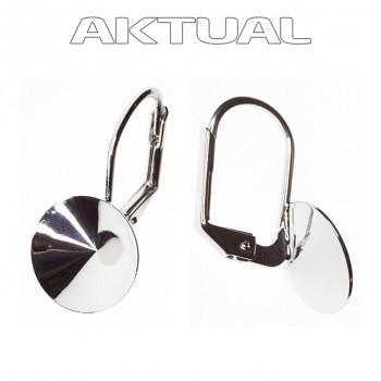 Náušnice klapka RIVOLI 16mm ROVNÁ Rhodiovaná