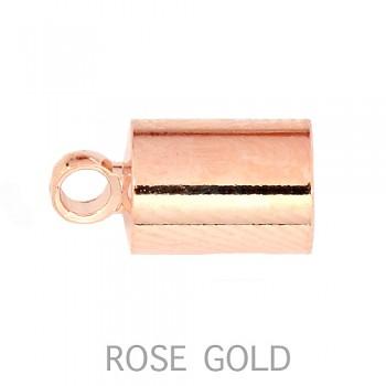Koncovka  4mm s očkem ROSE GOLD